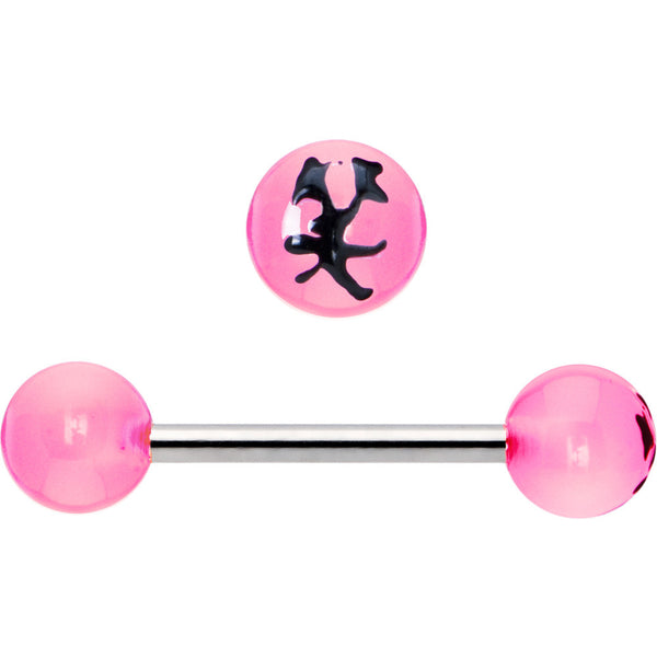 Pink and Black Smile Chinese Symbol Barbell Tongue Ring