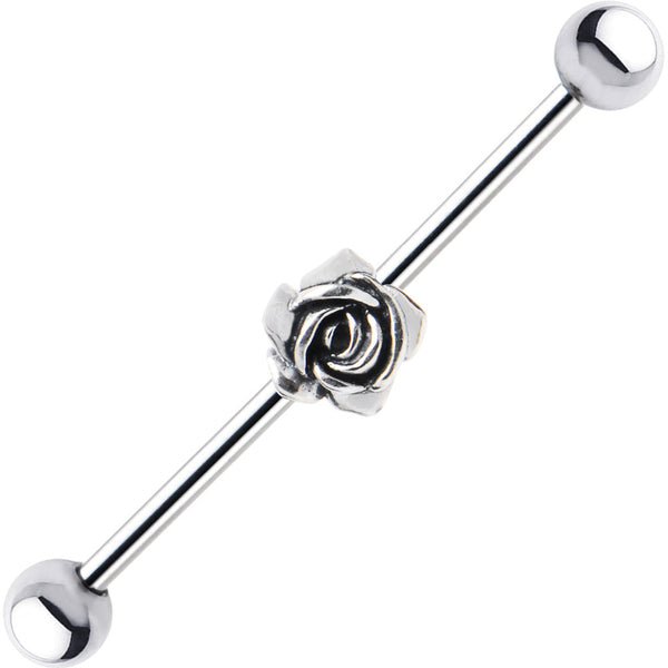 925 Sterling Silver Rose Steel Industrial Barbell 32mm