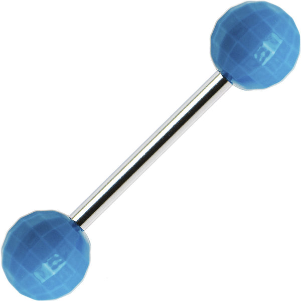 Blue Neon Disco Ball Barbell Tongue Ring