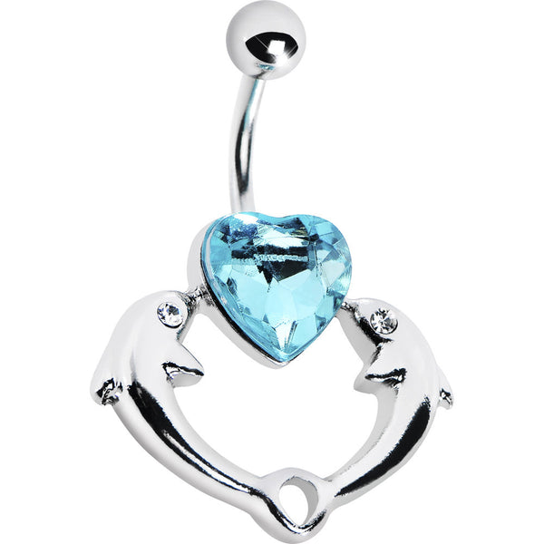 Double Dolphin Heart Blue Gem Belly Ring