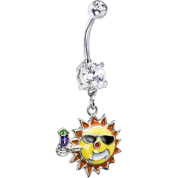 Sunglass and Drink Sun Belly Ring