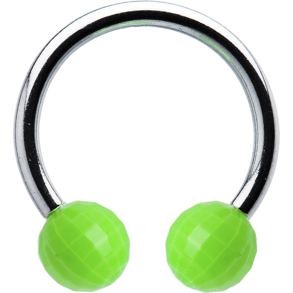Green Neon Disco Ball Horseshoe Circular Barbell