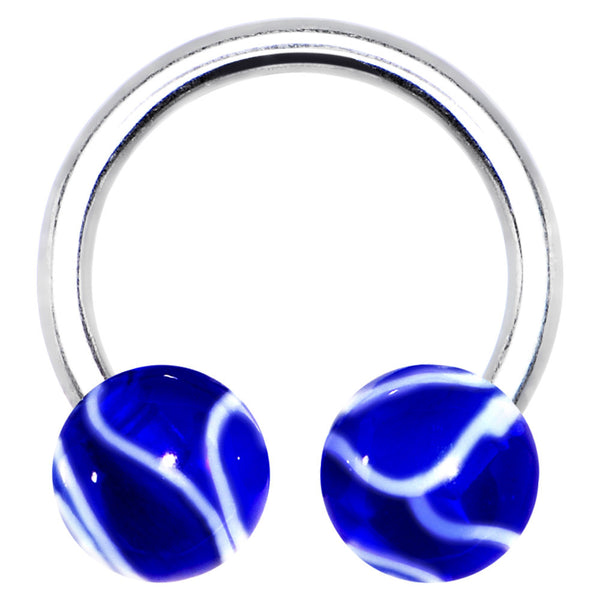 14 Gauge 7/16 Blue Marbelized Horseshoe Circular Barbell