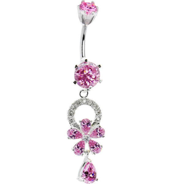 925 Sterling Silver Pink CZ Flower Dangle Belly Ring