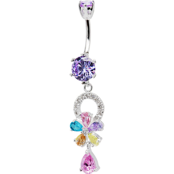 925 Sterling Silver Multi CZ Flower Dangle Belly Ring