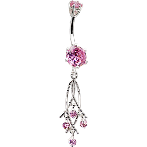 925 Sterling Silver Pink CZ Dangle Chandelier Belly Ring