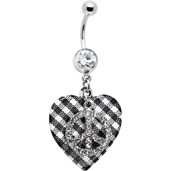 Plaid Heart Peace Symbol Belly Ring