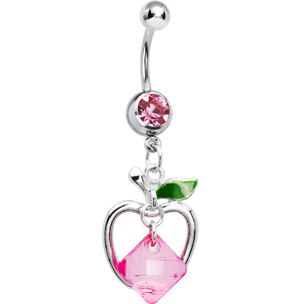 Perfectly Pink Gem Hollow Apple Belly Ring