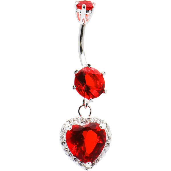 925 Sterling Silver Red CZ Dangle Heart Belly Ring