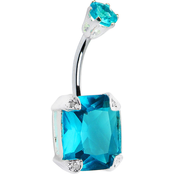 925 Sterling Silver Aqua Cubic Zirconia Square Belly Ring