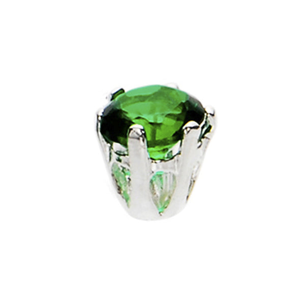 Silver 925 Emerald Cubic Zirconia Replacement Ball