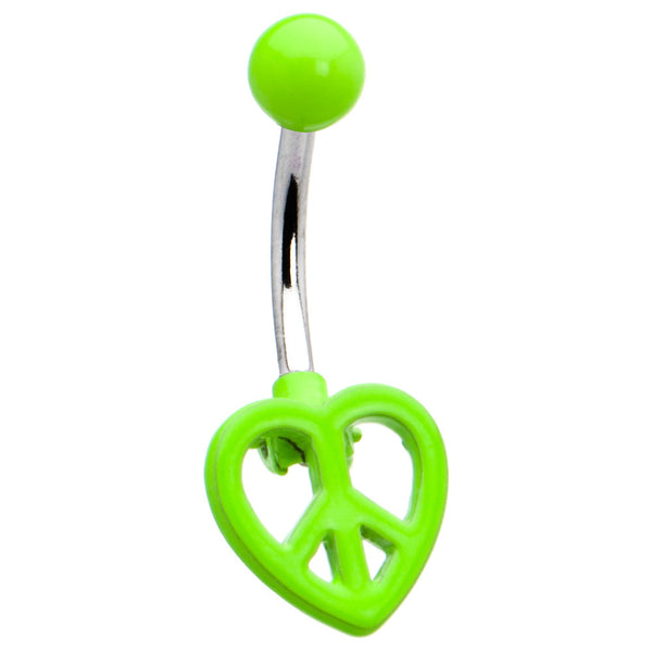 Green Neon Peace Sign Heart Belly Ring