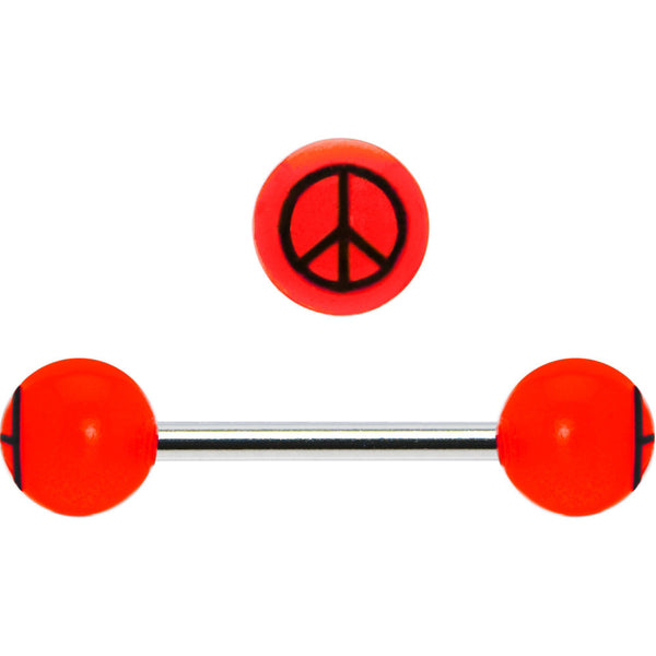 Red Black Acrylic Peace Sign Barbell Tongue Ring