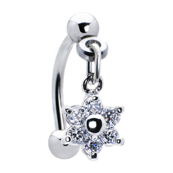 Top Down Clear Gem Dangle Flower Eyebrow Ring