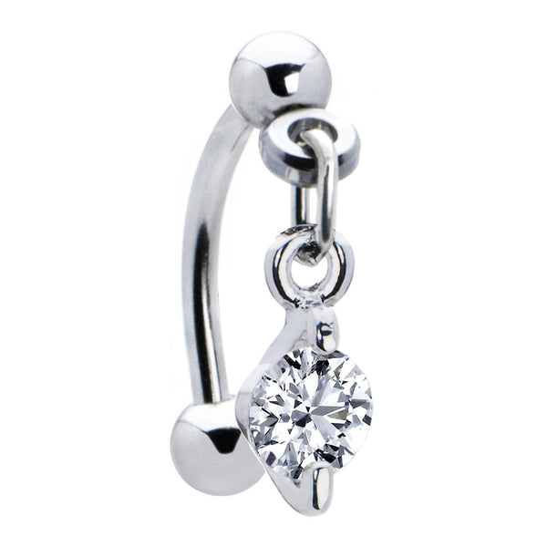 Top Down Clear Gem Dangle Round Solitaire Eyebrow Ring