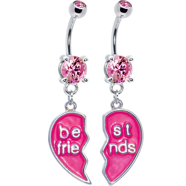 Pleasing Pink Cubic Zirconia Best Friends Belly Ring Set