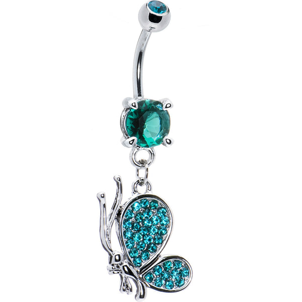 Blue Zircon Cubic Zirconia Profile Butterfly Belly Ring