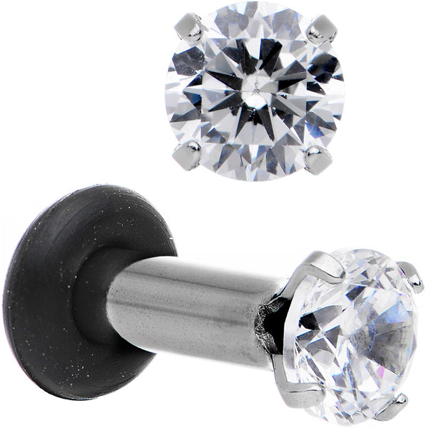 10 Gauge Clear CZ Gem Stainless Steel Single Flare Plug Set