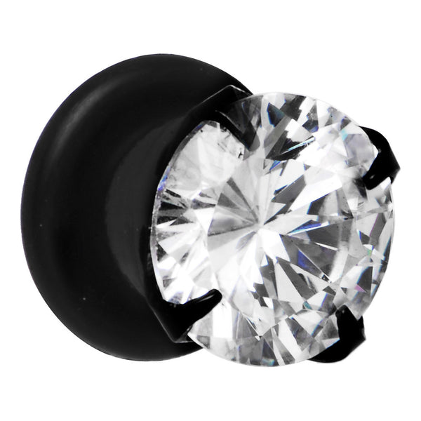 0 Gauge Black Clear Cubic Zirconia Plug