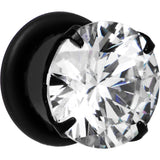 00 Gauge Black Clear Cubic Zirconia Plug