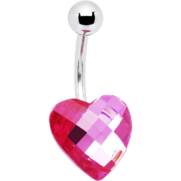 Sparkling Pink Prism Heart Belly Ring