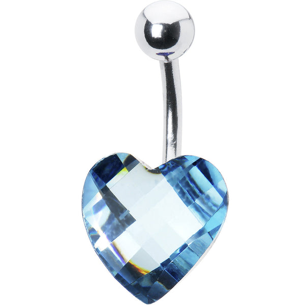 Sparkling Aqua Prism Heart Belly Ring
