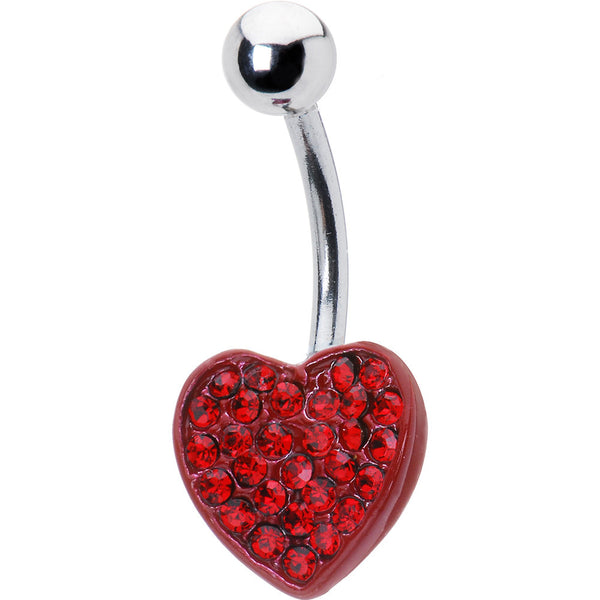 Sparkling Red Paved Gem Heart Belly Ring