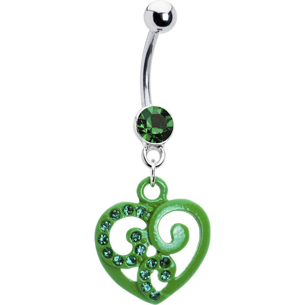 Green Hollow Heart Scroll Belly Ring