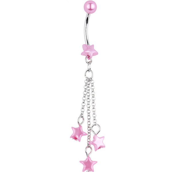 Pink Faux Pearl Star Chain Drop Belly Ring