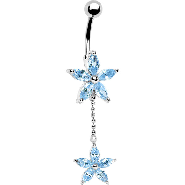 Solar Blue Gem DUAL LILY Banana Belly Ring