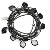 Silver Toned Black Leaf Charm Bangle Bracelet