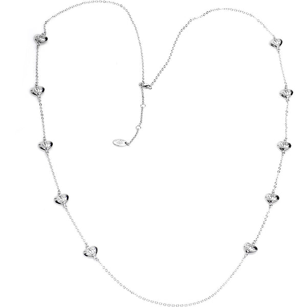 Silver Toned Heart Crown Necklace
