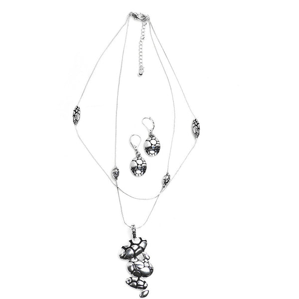 Silver Tone Designer Mosaic Pendant Necklace and Earring Set