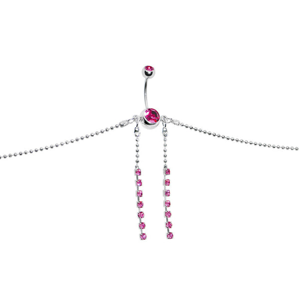 Passion Pink DUAL RHINESTONE Dangle BELLY CHAIN