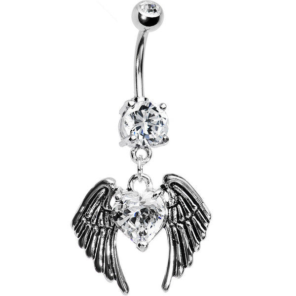 Clear Gem Winged Heart Dangle Belly Ring