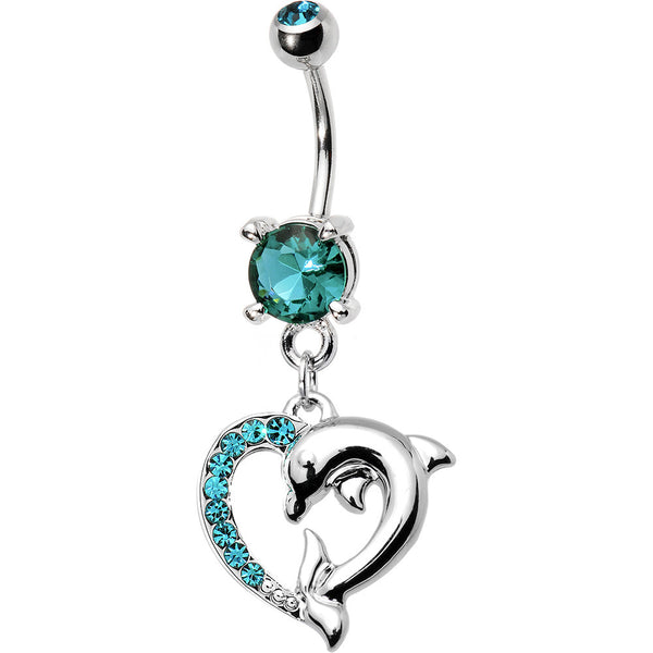 Blue Zircon Cubic Zirconia Heart Dolphin Belly Ring