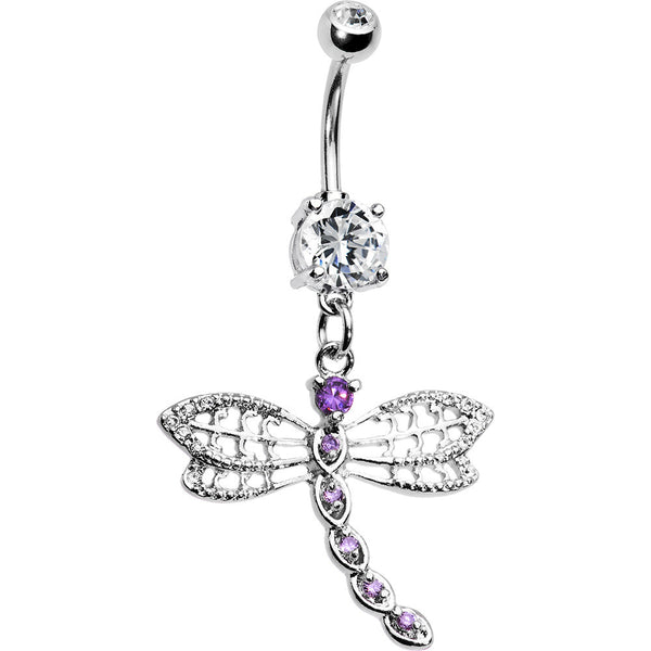 Purple Gem Dragonfly Dangle Belly Ring