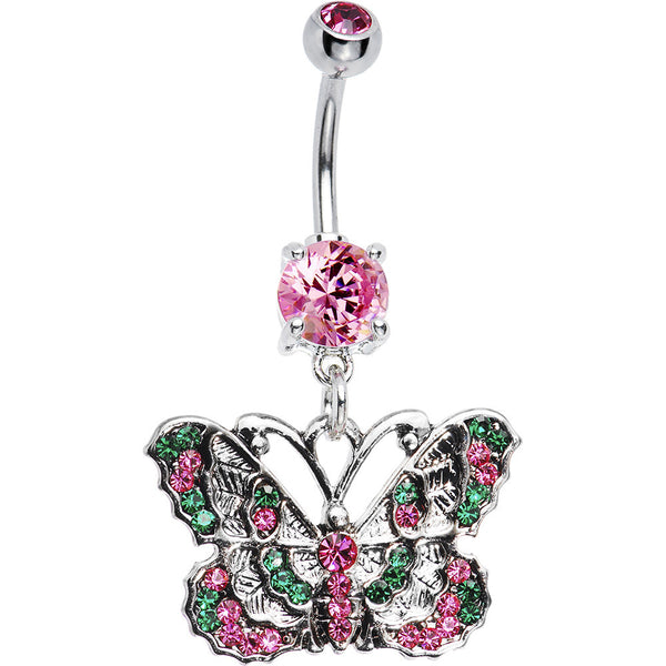 Green Pink CZ Montage Butterfly Belly Ring