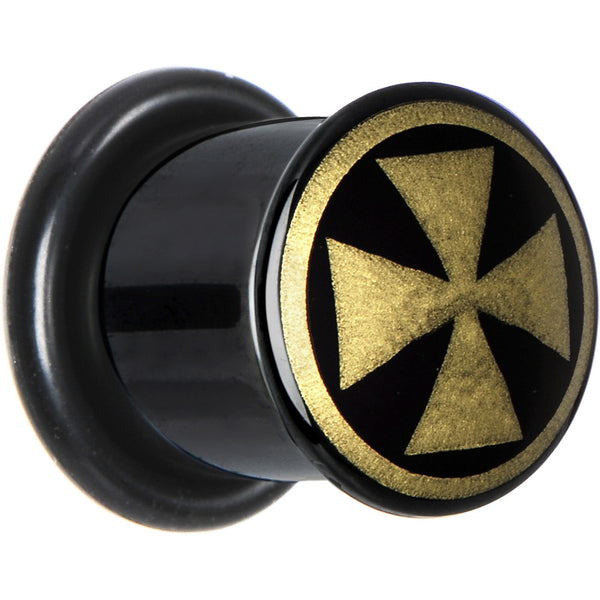 00 Gauge Anodized Titanium Gold Iron Cross Plug