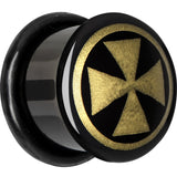 "9/16"" Anodized Titanium Gold Iron Cross Plug"