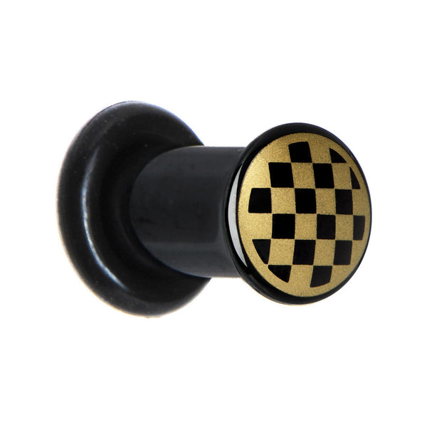 4 Gauge Anodized Titanium Gold Checker Board Plug