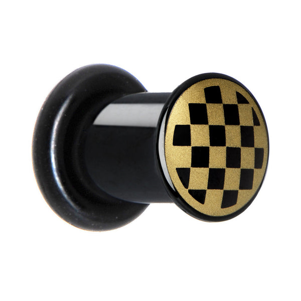 2 Gauge Anodized Titanium Gold Checker Board Plug