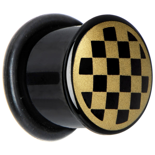00 Gauge Anodized Titanium Gold Checker Board Plug