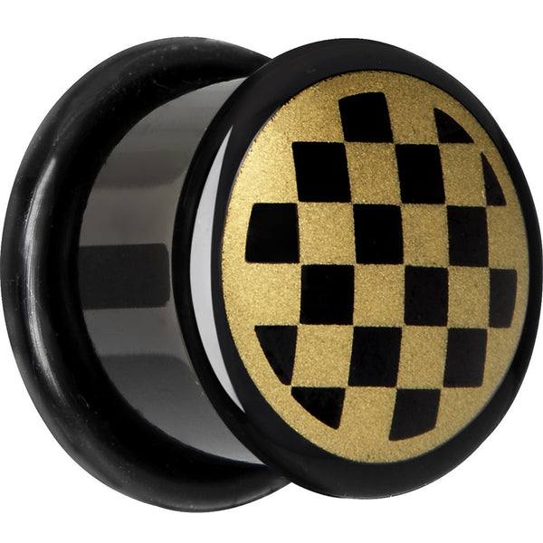 9/16 Anodized Titanium Gold Checker Board Plug