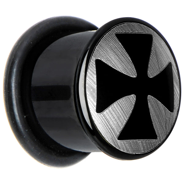 "1/2"" Anodized Titanium Silver Iron Cross Plug"