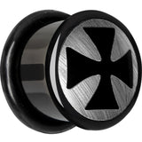 9/16 Anodized Titanium Silver Iron Cross Plug