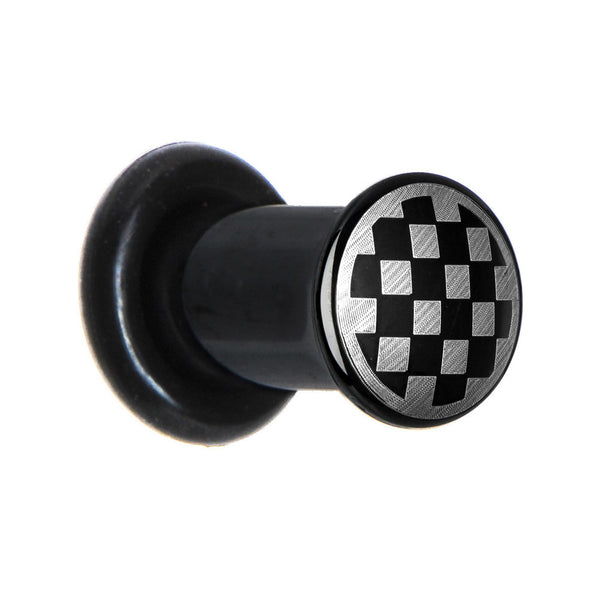 4 Gauge Anodized Titanium Silver Checker Board Plug