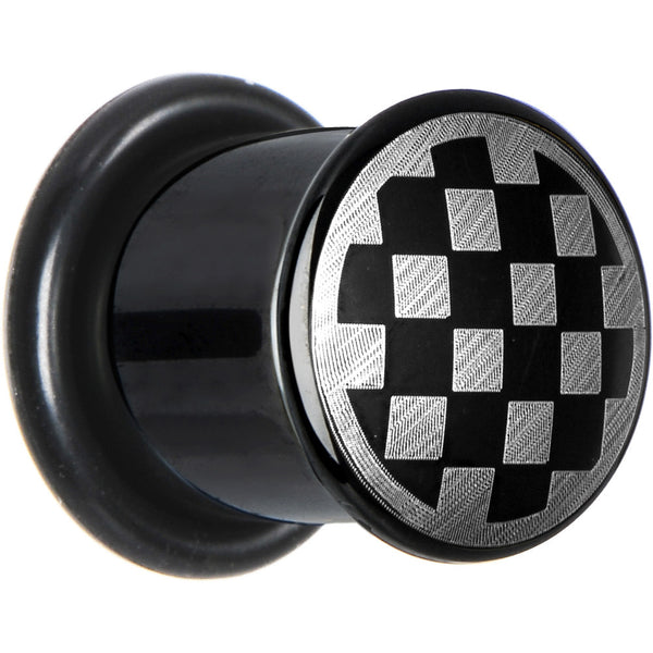 00 Gauge Anodized Titanium Silver Checker Board Plug