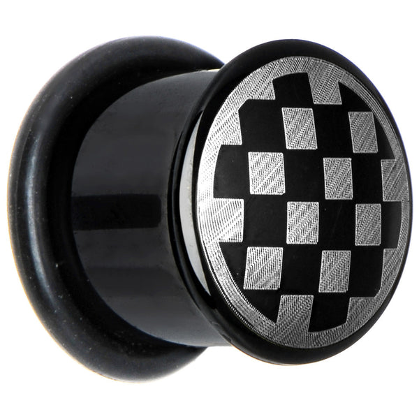 1/2 Anodized Titanium Silver Checker Board Plug