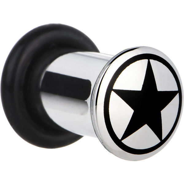 2 Gauge Stainless Steel Black Star Plug